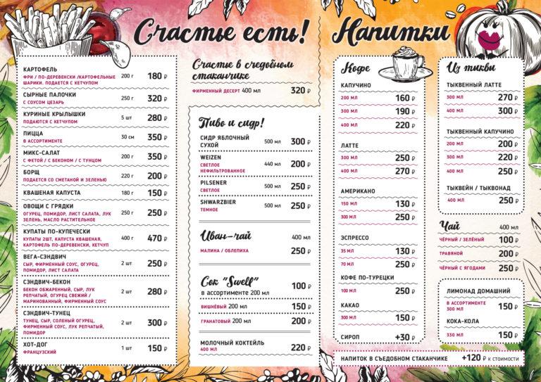 Меню Кафе «Чашечная»
